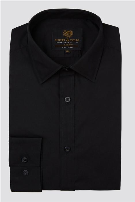 Scott & Taylor Black Poplin Shirt