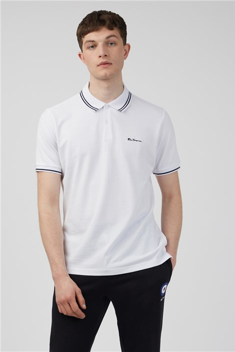 Ben Sherman White Romford Tipped Polo Shirt