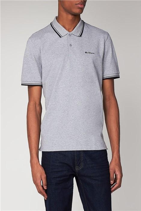 Ben Sherman Silver Grey Romford Tipped Polo Shirt