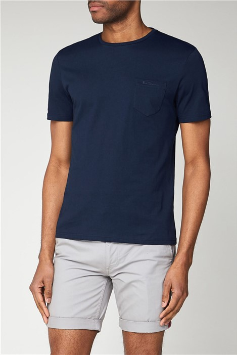 Ben Sherman Navy Blue T-Shirt with Chest Pocket