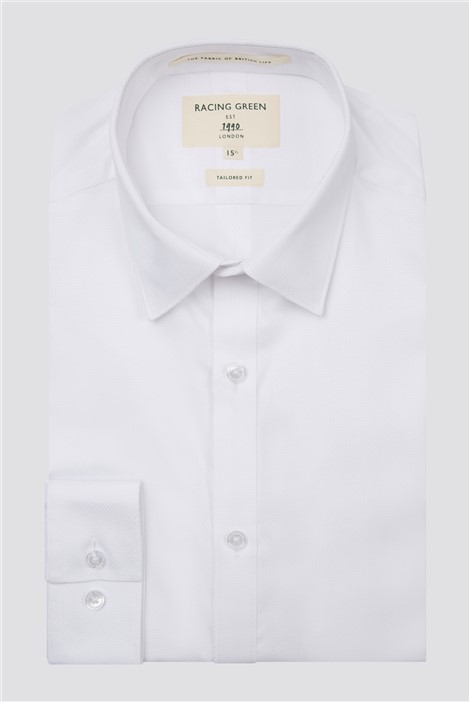 Racing Green White Textured Victor Mens Formal Shirt