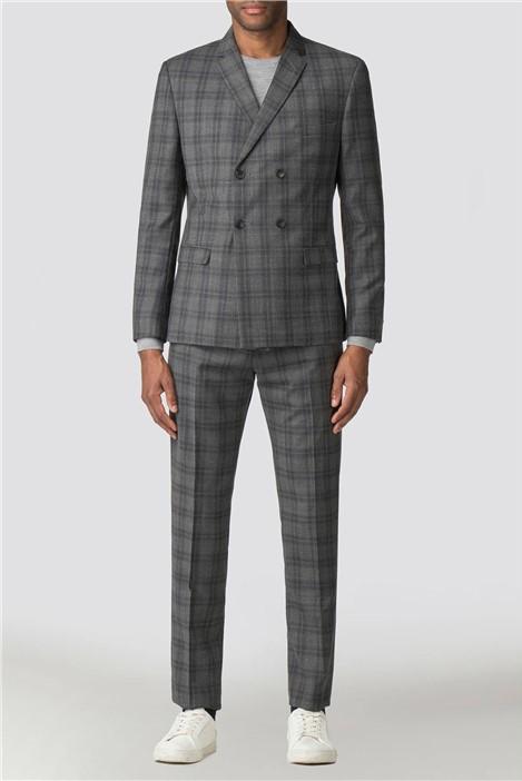 Ben Sherman Cool Grey Blue Check Camden Suit