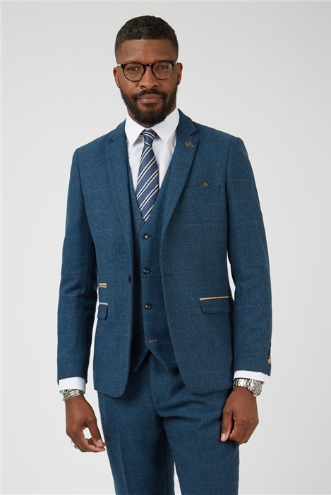 Marc Darcy Dion Blue Herringbone Check Slim Fit Jacket