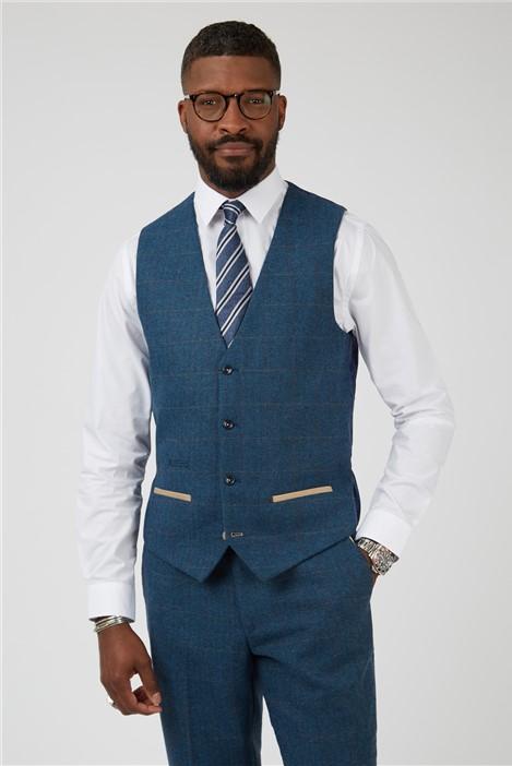 Marc Darcy Dion Blue Herringbone Check Slim Fit Waistcoat