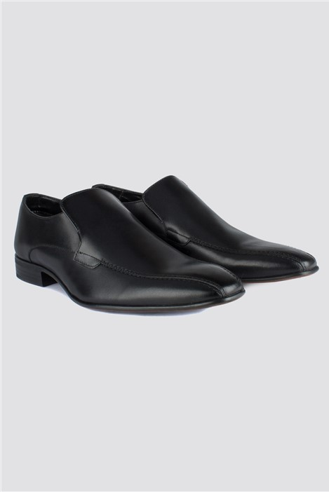 Scott & Taylor Black Leather Slip On Shoe