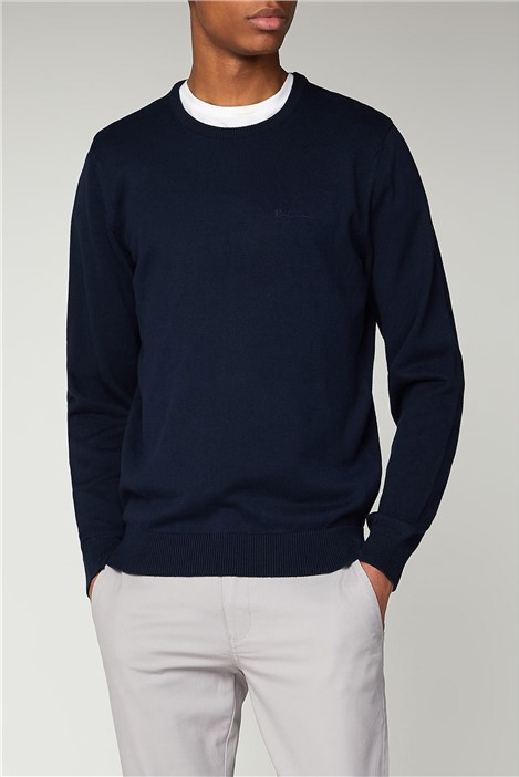 Ben Sherman Navy Plain Crew Neck