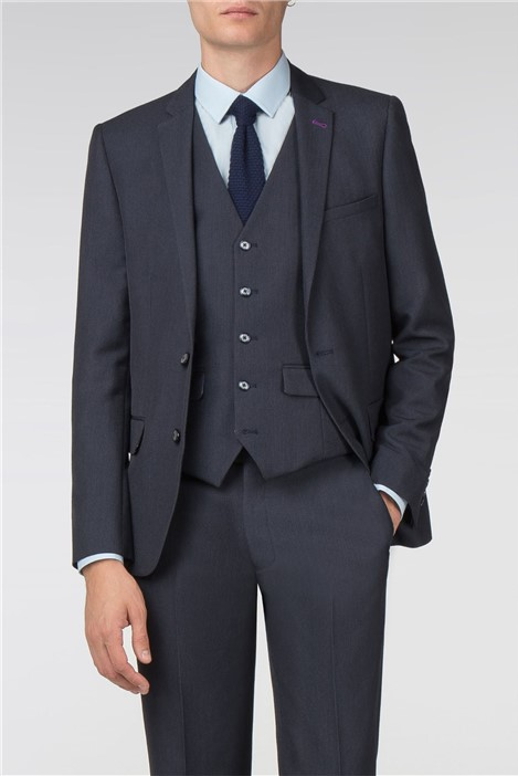 Harry Brown Navy Textured Slim Fit Suit