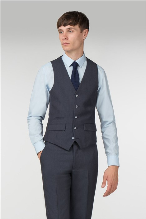 Harry Brown Navy Textured Slim Fit Waistcoat