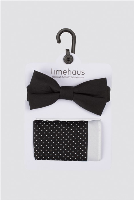 Limehaus Black Polka Dot Bow Tie & Hank Set