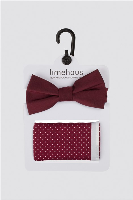 Limehaus Burgundy Polka Dot Bow Tie & Hank Set