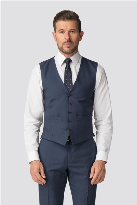 Scott & Taylor Blue Check Tailored Fit Waistcoat