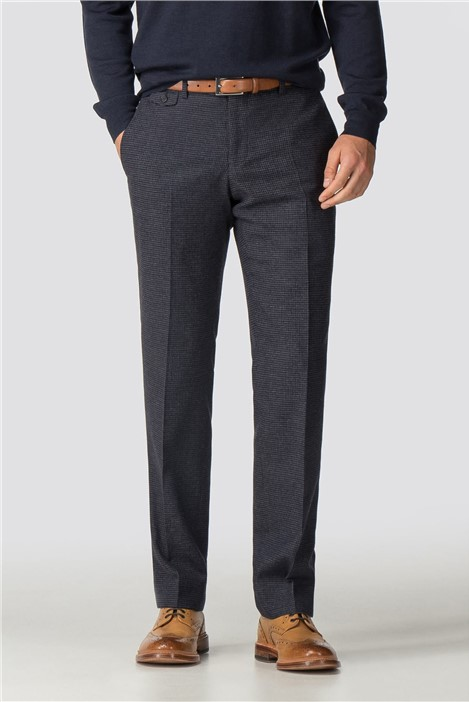 Racing Green Navy Burgundy Check Tailored Fit Trousers