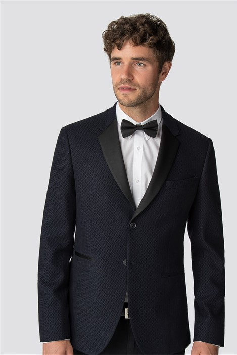 Racing Green Navy Flocked Tailored Fit Dinner Jacket