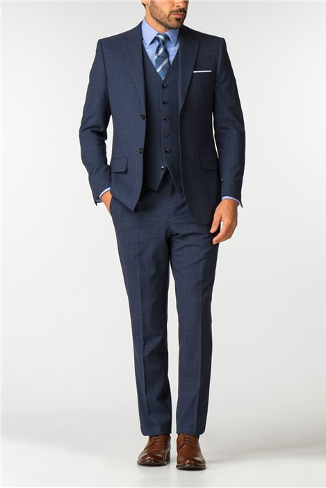 Men's Airforce Blue Checked Travel Suit Jacket
