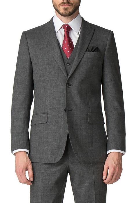 Jeff Banks Grey Check Regular Fit Travel Suit