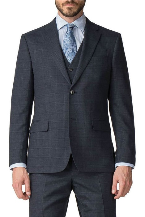Jeff Banks Blue Checked Regular Fit Travel Suit