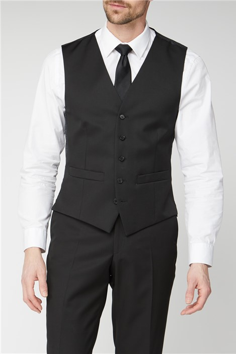 Racing Green Black Twill Regular Fit Performance Waistcoat