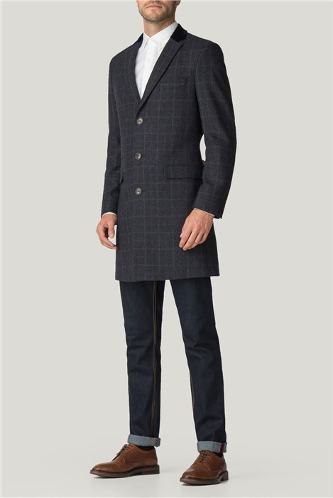 Racing Green Blue Check Tailored Fit Overcoat