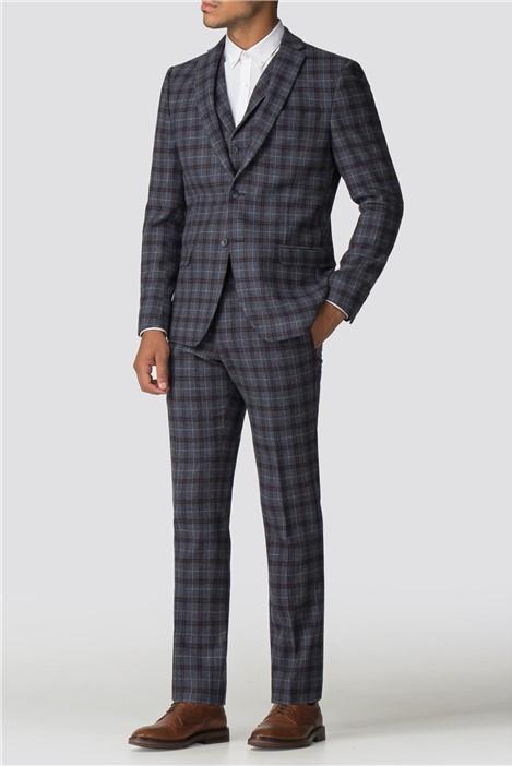 Limehaus Blue Burgundy Check Slim Fit Suit