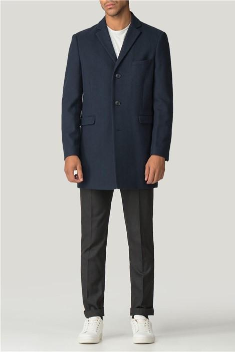 Limehaus Navy Blue Melton Slim Fit Overcoat