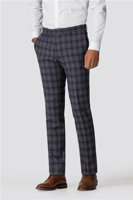 Limehaus Blue Burgundy Check Slim Fit Trousers