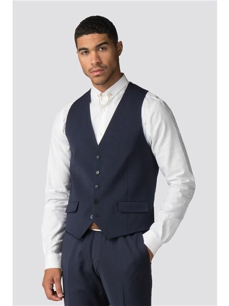 Without Prejudice Farenheit Navy Wool Blend Waistcoat