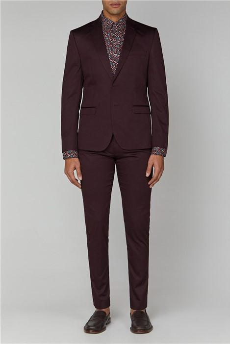 Ben Sherman Burgundy Cotton Camden Suit