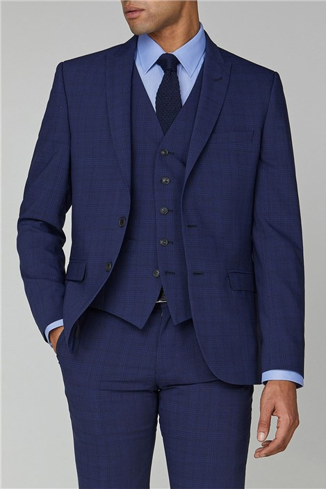 Ben Sherman Sapphire Check Stretch Camden Suit