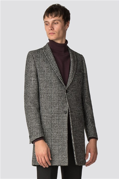 Viggo Sezy Black & White Check Overcoat