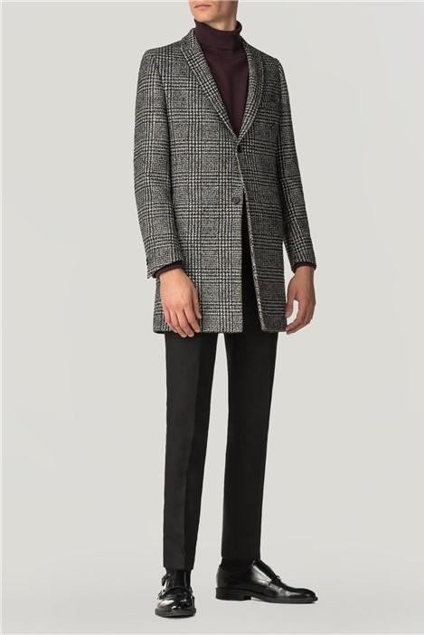 Viggo Sezy Black White Check Overcoat