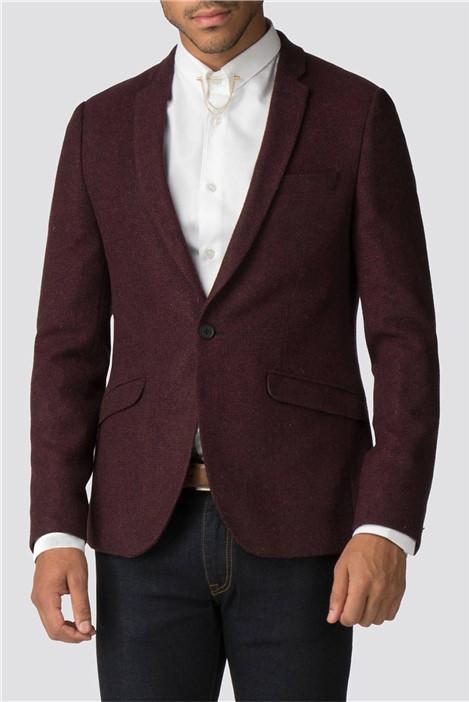 Shelby & Sons Mull Burgundy Herringbone Skinny Fit Suit