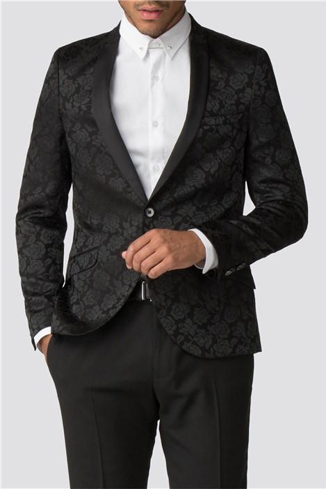 Shelby & Sons Hamilton Black Rose Jacquard Dinner Suit