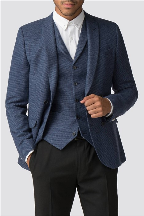 Shelby & Sons Lomond Navy Blue Puppytooth Blazer
