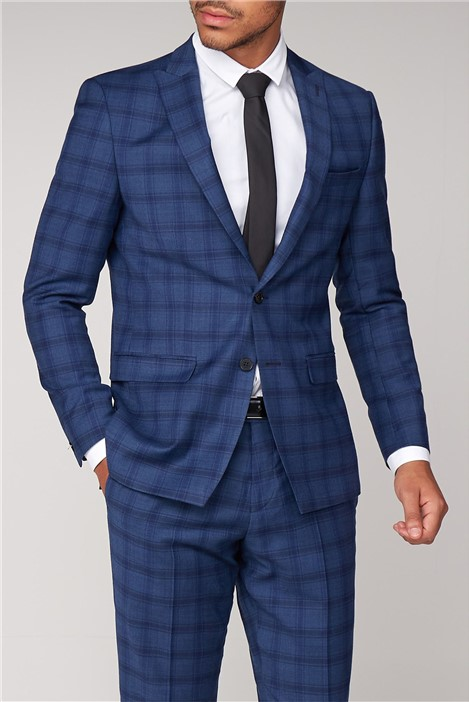 Without Prejudice Cartwright Blue Check Slim Fit Suit