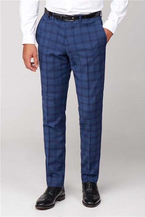Without Prejudice Cartwright Blue Check Skinny Fit Trousers