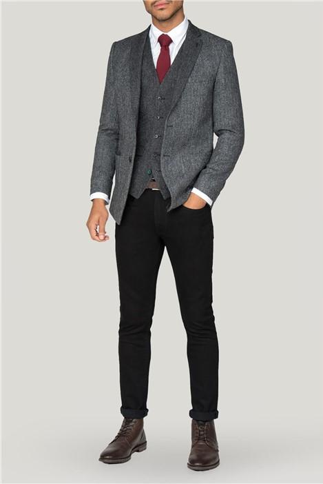 Without Prejudice Spencer Grey Herringbone Slim Fit Blazer