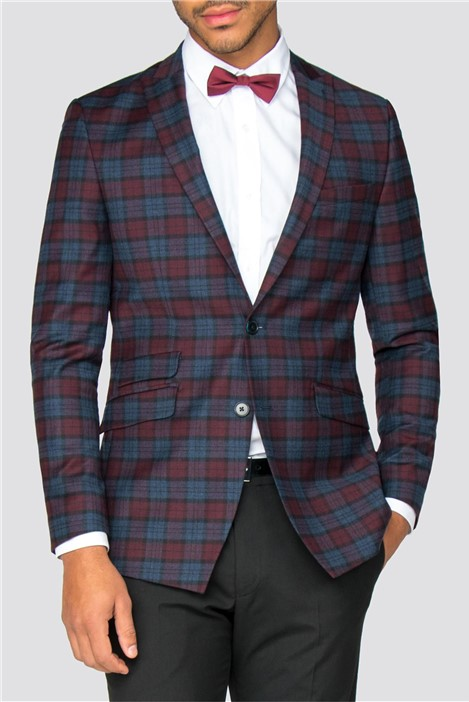 Without Prejudice Hick Blue Burgundy Check Slim Fit Blazer