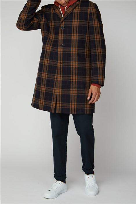Ben Sherman Orange Check Long Tailored Coat