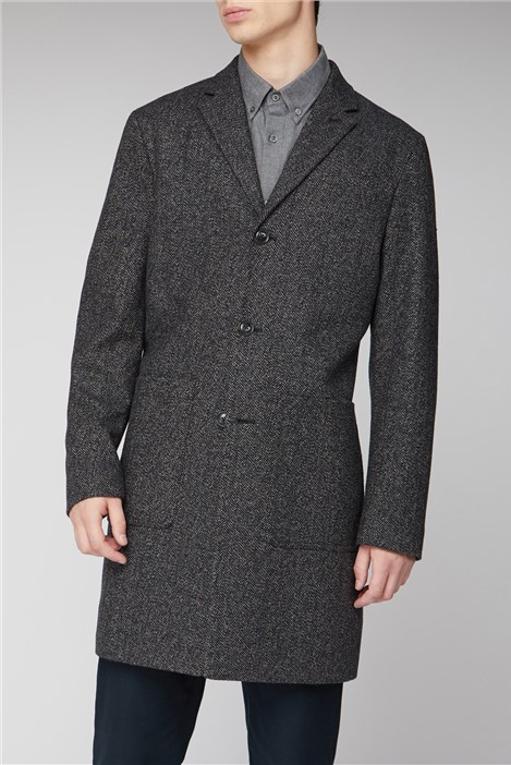 Ben Sherman Herringbone Overcoat