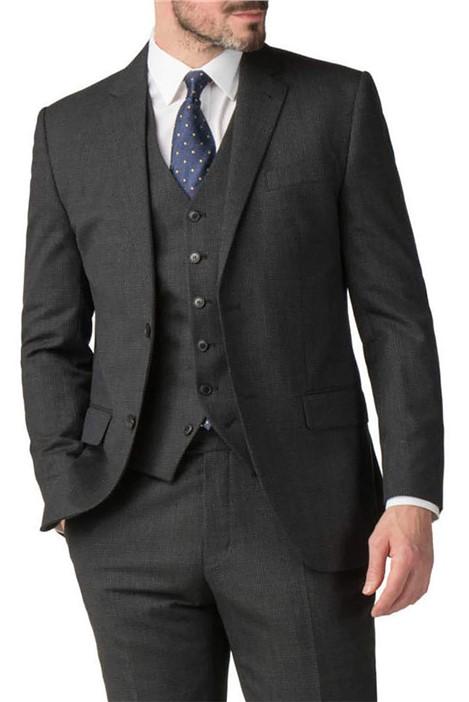 Jeff Banks Charcoal Semi Plain Wool Blend Modern Regular Fit Suit