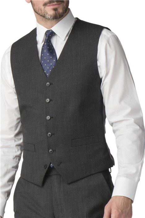 Jeff Banks Chacoal Semi Plain Wool Blend Regular Fit Waistcoat
