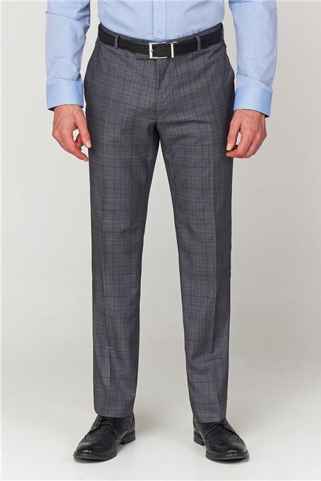Scott & Taylor Grey Check Tailored Fit Suit Trouser