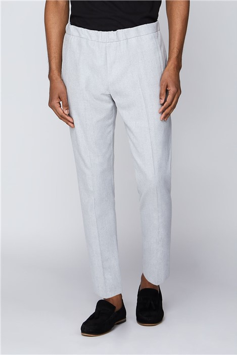 Limehaus Grey Marl Linen Blend Drawstring Trouser