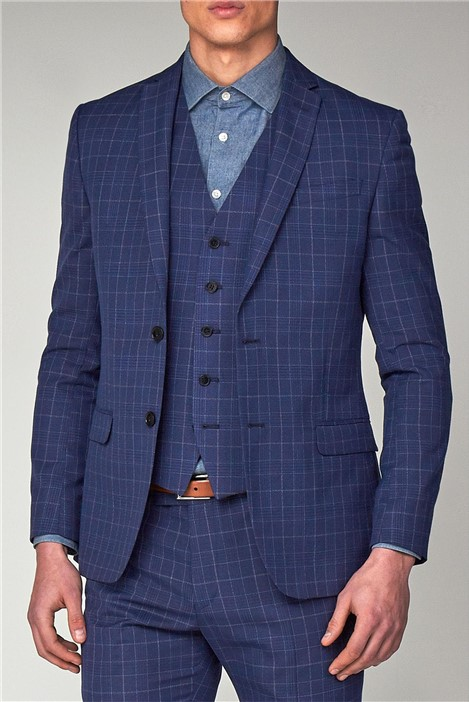 Limehaus Bright Blue Check Skinny Fit Suit Jacket