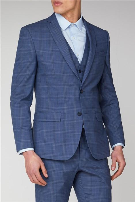 Ben Sherman Light Blue Check Tailored Fit Suit