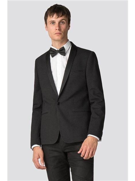 Viggo Erfurt Black Printed Slim Fit Shawl Collar Jacket