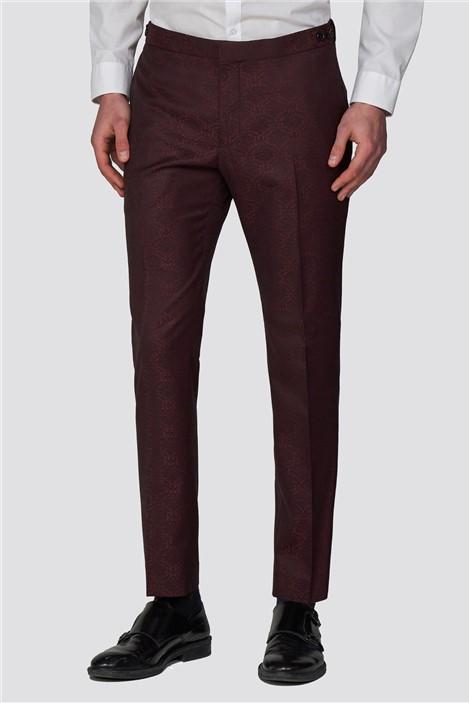 Red Herring Burgundy Jacquard Slim Fit Tuxedo Trouser