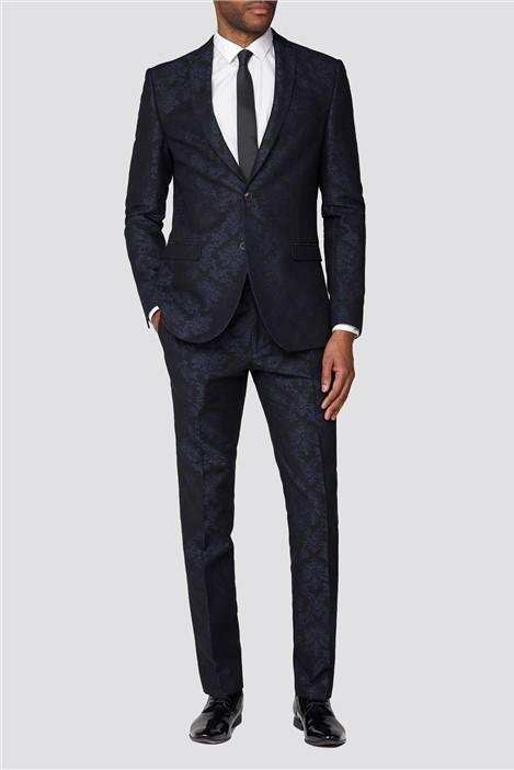 Navy Jacquard Flocked Slim Fit Suit