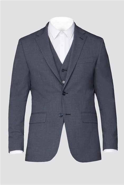 The Collection Branded Grey Blue Micro Textured Regular Fit Suit