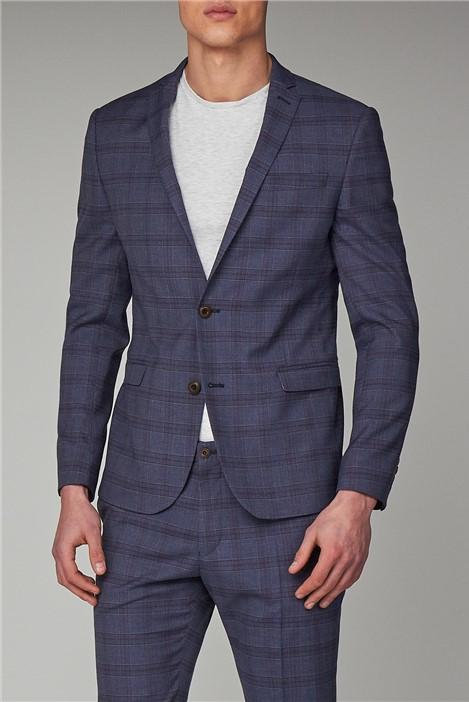 Ben Sherman Slate Chambray Check Skinny Fit Suit
